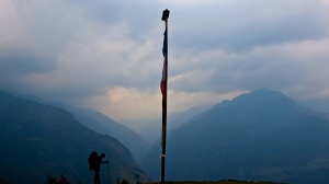 Entering Sibuje - hiker silhouette