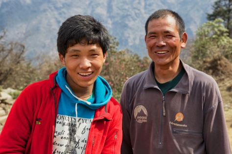 Tsongba (son) and Pasang (father) made a wonderful porter team. They were the two who Christen and I hired to carry the myriad of camera and personal gear we needed to make the film and keep us warm and safe. They began as our porters and quickly became our family too.