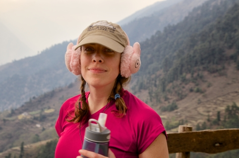 Christen's strategy of putting on her bunny ear muffs was a good one for feeling a comfort from home when utterly exhausted after a steep climb.