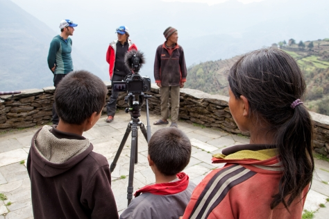 Some of the local kids supervise the filming at Dorje's house. I was never short on helping hands.