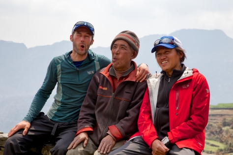 Glen, Dorje Sherpa, and Karma Sherpa get their 'silly' on.