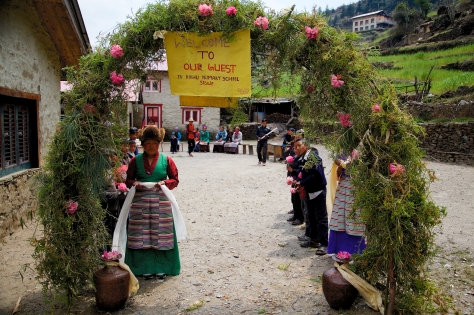 We were welcomed in Sherpa style by the villagers to the school. We were expecting just a visit, what we got was a celebration.