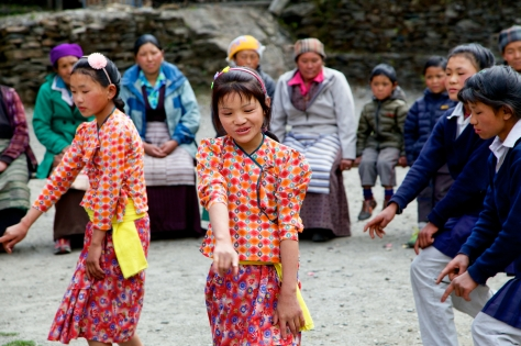 "Some of the village children dance to the song, ""...slowly, slowly, slowly..."" Photo Credit: Christen Babb"