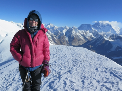 Becky on the summit of Mera Peak. Photo courtesy of Matt Dreger