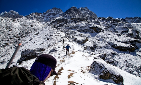 Andrew and Matt work their way up the snowy trail from Khare towards Mera La, our next acclimatization point at 17,500 ft.