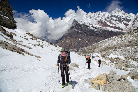 Becky leads the way from Khare up to Mera La.