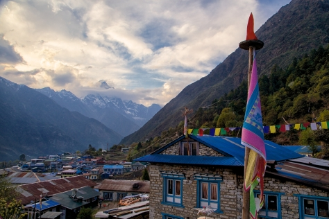 Lukla welcomes us back in style with a beautiful view.
