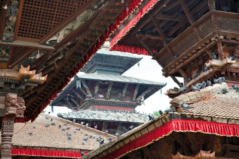 Durbar square in Kathmandu is home to many of the city's temples. © Luke Mislinski