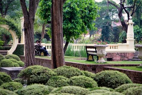 A couple enjoys the quiet of the Garden of Dreams. © Luke Mislinski