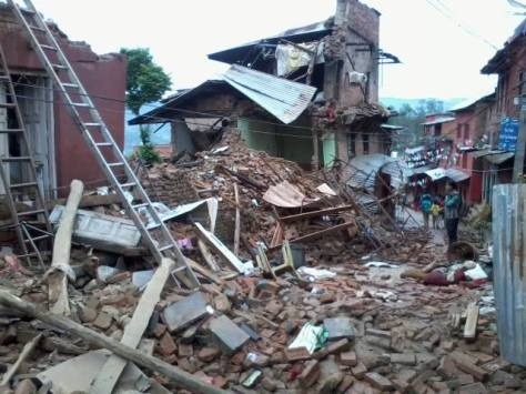 The destruction in Suman's village, Changu Narayan, is extensive. Photo by, Balkrishna Baj.